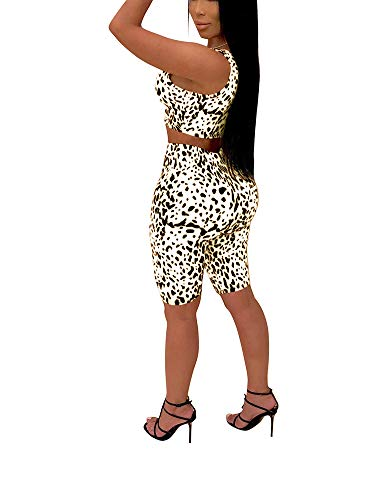 - Sexy 2 Piece Outfits Summer Bodycon Tracksuit Leopard Dot Tank Top Shorts White