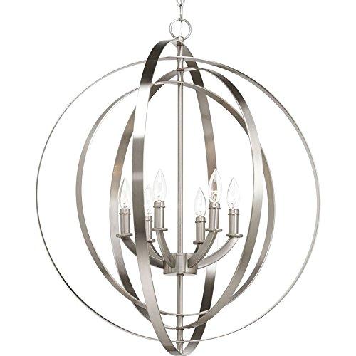 - Progress Lighting Equinox 27.75-in Brushed Nickel Multi-Light Cage Pendant