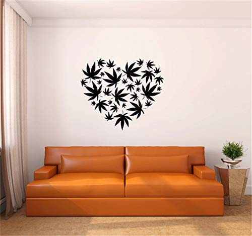 Lettering Words Wall Mural DIY Removable Sticker Decoration Tree Wall Decal Marijuana Pot Leaf Heart Vinyl Wall Decal Sticker for Living Room Bedroom
