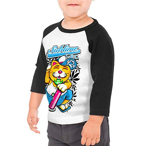 LIALUER Sublime LBC Lucky Cat Toddler Raglan 3/4 Sleeves Baseball T Shirts Baby Tees Black