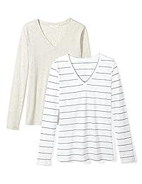 Daily Ritual Amazon Brand Playera Ligera para Mujer, 100% algodón Supima, Manga Larga, Cuello en V