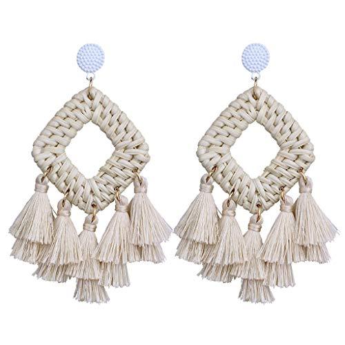 - Gleamfut Ladies Boho Weaving Rattan Tassel Square Dangle Earrings Women Handmade Personality Retro Jewelry