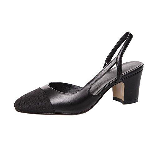 Calaier Women Casomeone Closed-Toe 6.5CM Block Heel Slip-on Sandals Shoes Black bJMaAzhwW
