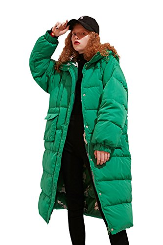 Hooded Long Jacket (Elf Sack Women's Long Hooded Down Jacket Winter Coat With Big Pockets Green X-Large)