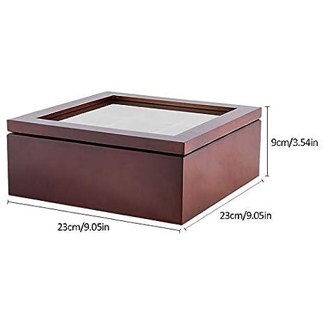 Xigeapg Wooden 9 Grids Tea Box Tea Bags Container Storage Box Square Gift Box Case Transparent Glass Top Lid 23X23X9Cm-Black