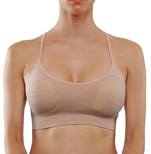 Bise Women's Sports Bra Yoga Top Padding Workout Middle Support Active Wear (M, BSB300-Khaki)