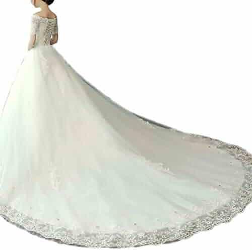 e156d48aec03 GFDress Women A Line Applique Beaded Lace Wedding Dress 2019 Luxury Chapel  Train Bridal Halter Wedding
