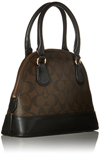 7459e38649fd Coach Signature PVC MINI Cora Domed Satchel in Brown - Import It All
