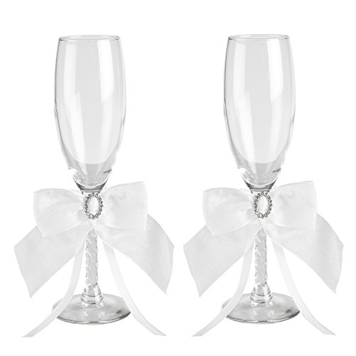 Jamie Lynn Wedding Accessories Crystal Eternity Toasting Flutes, Set of 2, White
