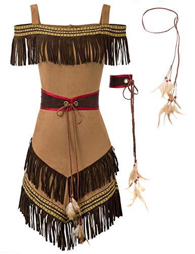 KANCY KOLE Women's 4 Piece Native American Costume Plus Size Halloween Costume Indian Princess Dress ()