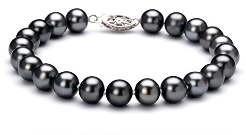 Black 7.5-8.5mm AA Quality Freshwater 10K White Gold Cultured Pearl Bracelet For Women-8 in length ()