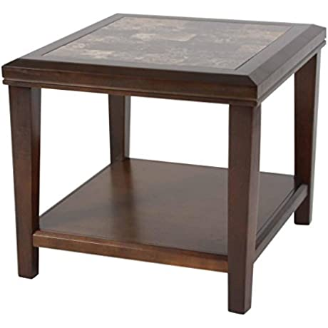 Homelegance Belvedere Modern Design End Table With Faux Marble Inlay Tabletop Espresso