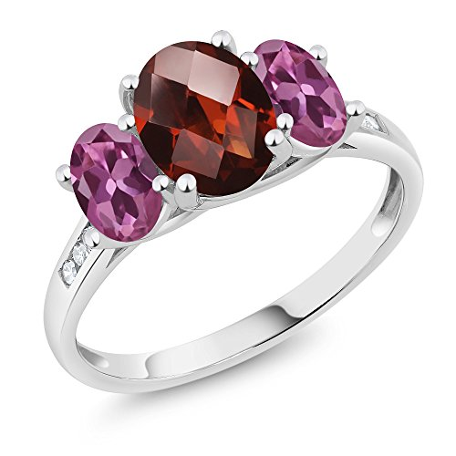 Gem Stone King 10K White Gold Diamond Accent Oval Checkerboard Red Garnet Pink Tourmaline 3-Stone Ring 2.16 Ct (Size 8)