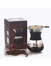 Giet over koffiezetapparaat papierloze herbruikbare roestvrijstalen filter en BPA-vrije glazen karaf handkoffie druppelaar brouwpot 10 oz/ 300 ml