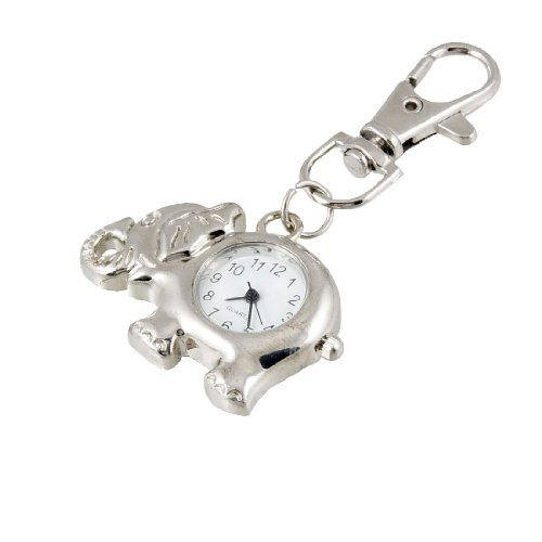 Elephant Shaped Arabic Number Round Dial Watch Key Ring Keychain