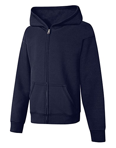 Hanes Big Girls' ComfortSoft EcoSmart Full-Zip Fleece Hoodie, Navy, L