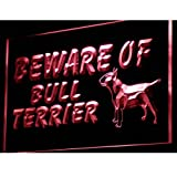 ADVPRO Beware of Bull Terrier Dog Decor LED Neon Sign Red 16'' x 12'' st4s43-i836-r