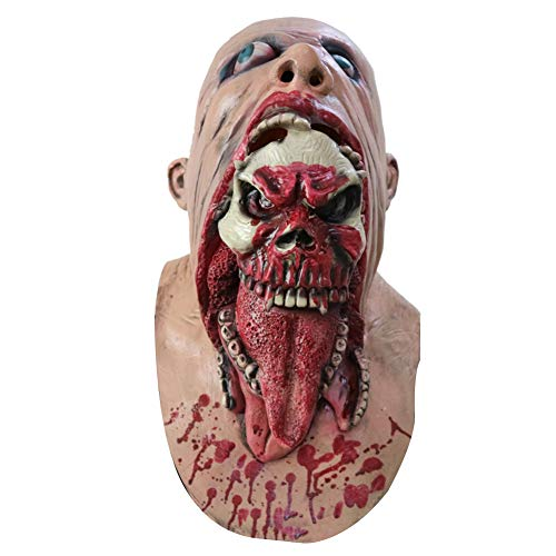 pzkwmfv Scary Horrible Blooding Zombie Mask Cosplay Halloween Costumes Party Prop Red (Corpse Party Blood Covered Repeated Fear English)