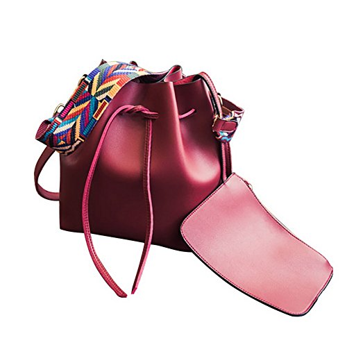 Jiaruo Colorful Strap Large Capacity Leather Shoulder Handbags Bucket bags (red) (Large Flap Body Cross)