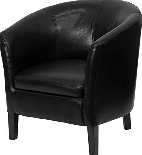 (Campton Black Leathersoft Barrel Shaped Guest Lounge Chair - Reception Area Side Chair | Model LNGCHR - 341)