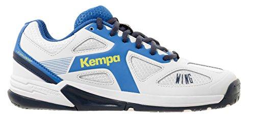 Kempa Wing Junior, Zapatillas de Balonmano Unisex Niños blanco / azul (fair / mar)