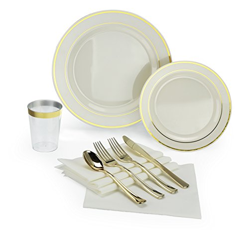 Twenty Two Piece - OCCASIONS 200 piece/25 guest Wedding Party, Heavyweight Disposable Dinnerware Set - Wedding Plastic Plates, linen like paper napkins, silver rim cups & Silverware (Ivory w/gold rim)
