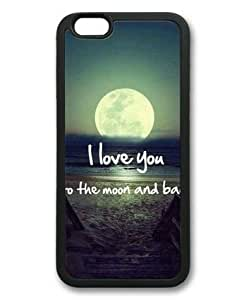 iphone 4 4s Case, Love Quote I Love You to the Moon and Back 01 Slim Fit Case for iphone 4 4s Soft TPU Material Black