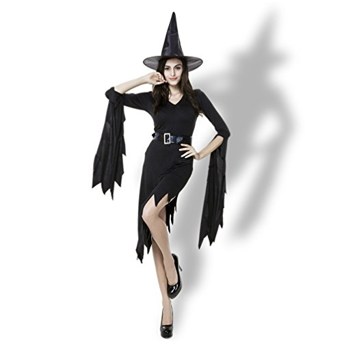 [Lyn Home Women's Sexy Asymmetric Halloween Basic Witch Costume Cosplay Dress with Hat, Black, Size L, US Women 12-14] (Pumpkin Carving Templates Free Printable)