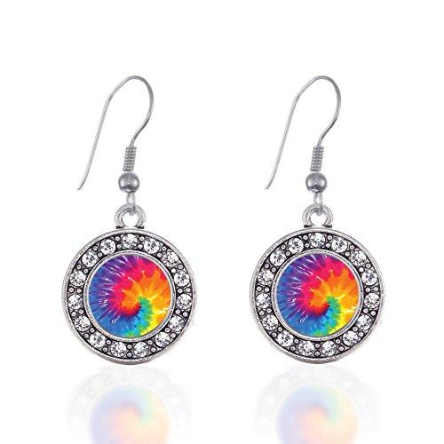 Tie Dye Circle Charm Earrings French Hook Clear Crystal Rhinestones