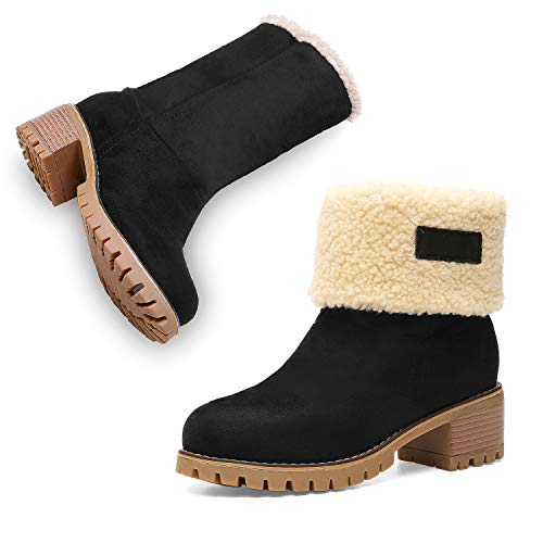 Winter Boots for Women Stylish Fold Suede Chunky Mid Heel Round Toe Short Snow Ankle Boots 19NXEA01-W1-6 (Women Tall Boots)