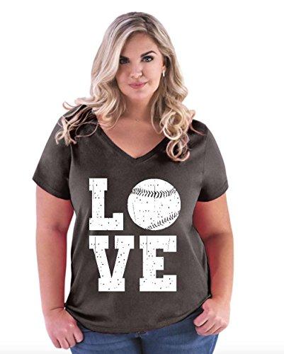 (Baseball T-Shirt Love Baseball Women's Plus Size V-Neck)
