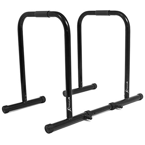 ProsourceFit Dip Stand Station, Heavy Duty Ultimate Body Press Bar with Safety Connector for Tricep Dips, Pull-Ups, Push-Ups, L-Sits, Black reviews