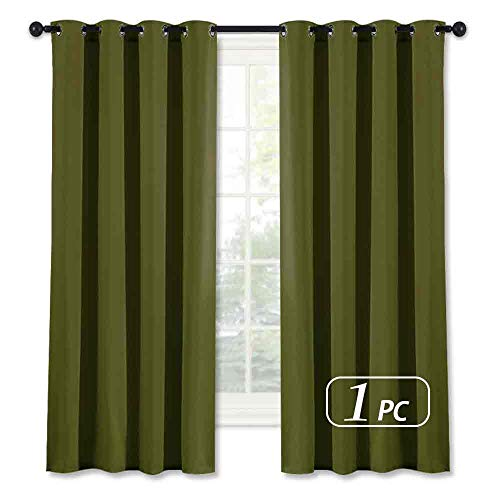 NICETOWN Blackout Short Curtain for Small Window - (Olive Green Color) Christmas Decoration Window Treatment Drape Modern Design Drapery for Kitchen Room, 52Wx63L,1 Panel