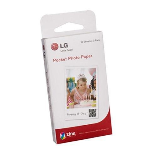 LG Electronics Pocket Photo Paper for Pocket Photo Printer, 30 Sheets, 2x3 2x3 ZINK PS2203