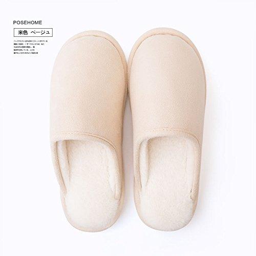 Hiver Fankou Coton Pantoufles Dames Demi-pack Avec Des Pantoufles De Plancher De Couples Automne Pantoufles Intérieur Mâle, Femelle: 37-38, Jaune Clair