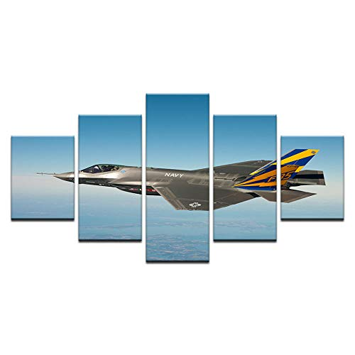 Painting 5 Panel Modern Fighter Aircraft Canvas Painting Combat Wall Picture Art for Living Room12x16/24/32 inch,Without - Fighter Panels