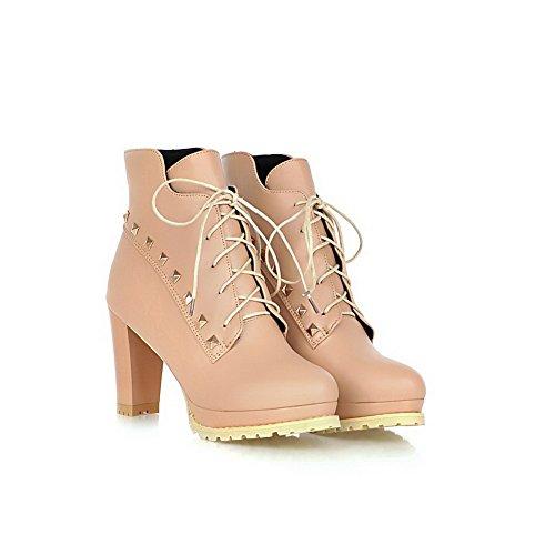 VogueZone009 Damen Hoher Absatz Rein Rund Zehe Blend-Materialien Schnüren Stiefel Aprikosen Farbe