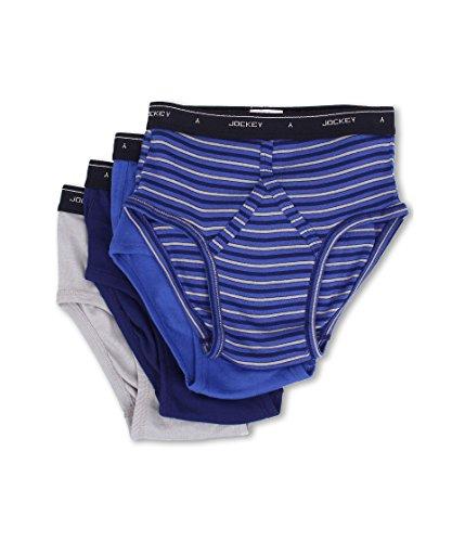 Jockey Men's Cotton Low-Rise Brief 4-Pack Intense Royal/Majestic Blue/Mid Grey/Majestic Blue Stripe 36