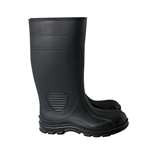 UltraSource 444106-9 Economy PVC Boots, Black, Steel Toe, Size 9 - Image 1