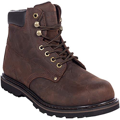 Men's Steel Toe Work Boots for Construction Safety Industrial Tank S (10.5 Medium, Darkbrown)