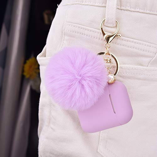 Filoto Case for Airpods, Airpod Case Cover for Apple Airpods 2&1 Charging Case, Cute Air Pods Silicone Protective Accessories Cases/Keychain/Pompom/Strap, Best Gift for Girls&Women, Lavender Purple