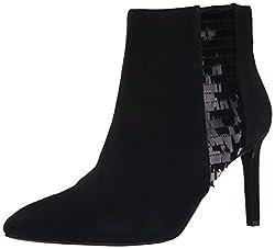 Nine West Women's Emilee Suede Boot, Black/Black, 9.5 M US