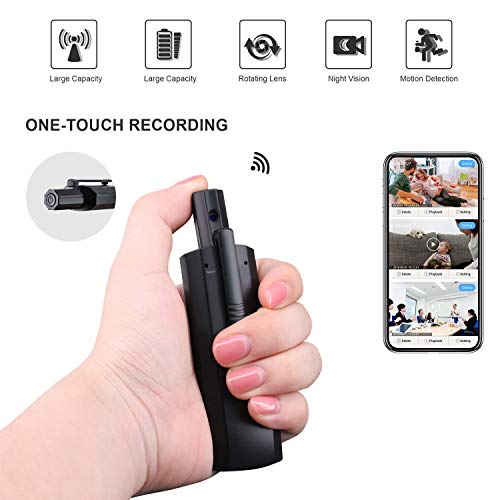 Mini Spy Camera WiFi HD 1080P Portable Body Camera with Night Vision Rotatable Lens Clip on Hidden Cameras Remote Monitor for Home Office Security