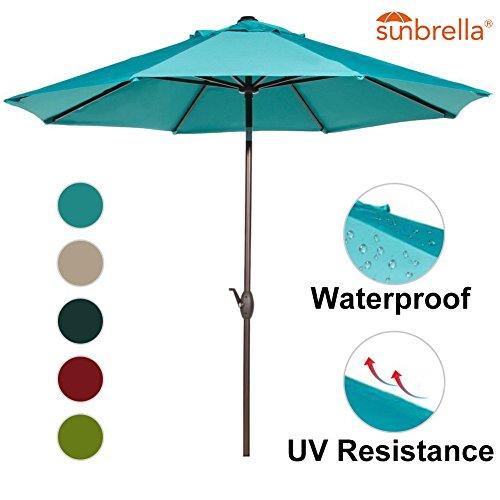 Abba Patio 9-Feet Sunbrella Fabric Patio Umbrella Outdoor Table Umbrella with Auto Tilt and Crank (Turquoise)