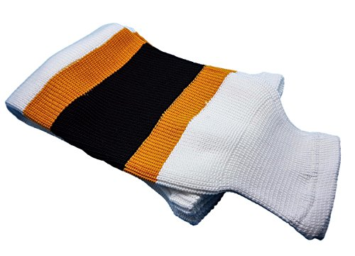 "Hockey Socks Knit Made in Canada for Hockey Players (Intermediate 28"", 6 White w/Black/Gold)"