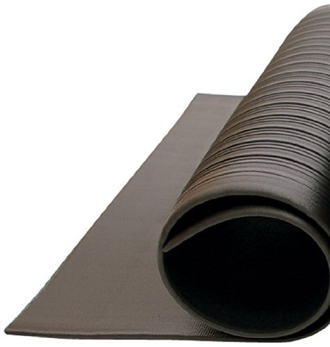 Bertech Anti Fatigue Vinyl Foam Floor Mat, 3' Wide x 12' Long x 3/8'' Thick, Ribbed Pattern, Black, Bevelled on All Four Sides (Made in USA) by Bertech