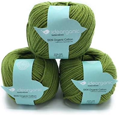 Hilo de algodón para tejer DK, 100 % orgánico, 50 g/m², colores pastel, paquete de 3 ovillos verde oliva: Amazon.es: Hogar