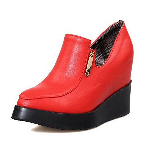 AllhqFashion Damen Hoher Absatz Weiches Material Rein Reißverschluss Spitz Zehe Pumps Schuhe Rot