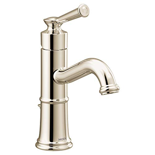 Moen 6402NL Belfield One-Handle Bathroom Sink Faucet with Drain Assembly and Optional Deckplate, Polished Nickel