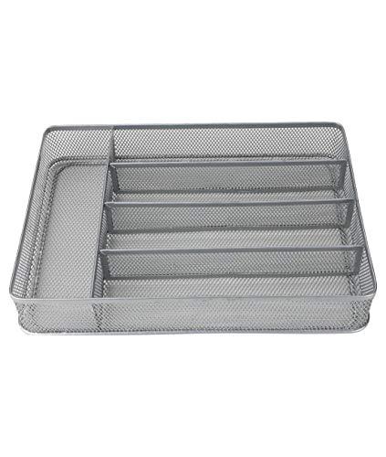 - Denozer Mesh 5 Compartments Kitchen Drawer Cutlery Tray Organizer,Silver